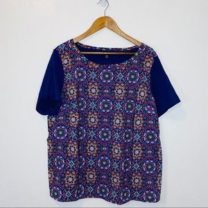 NEW Land's end patterned blue blouse